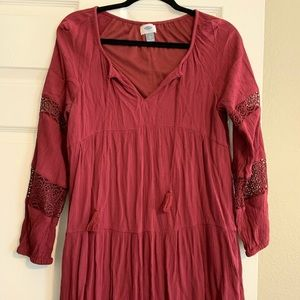 Maroon dress with lace sleeves